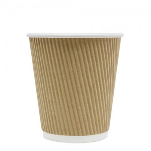 Karat 10oz Ripple Paper Hot Cups – Brown (90mm)