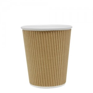Karat 8oz Ripple Paper Hot Cups – Kraft (80mm)