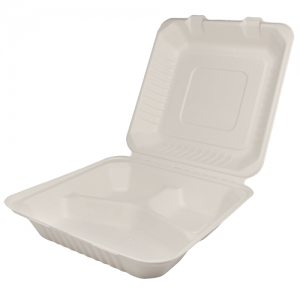 wholesale Karat 9inx9in Bagasse Hinged Container – 3 Compartments