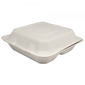 Karat 9inx9in Bagasse Hinged Container – 3 Compartments